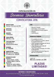 Afiche - Especialización en Docencia Universitaria 2016 (Large)