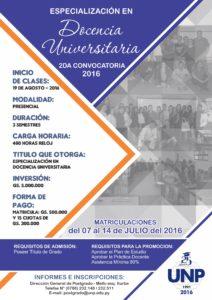 especialización docencia universitaria